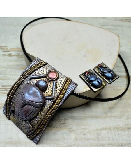Skarabeusz - komplet biżuterii wkrętki i zawieszka