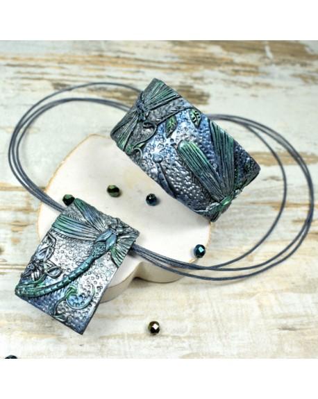 Ważki - komplet biżuterii w odcieniach srebra, zieleni i błękitu