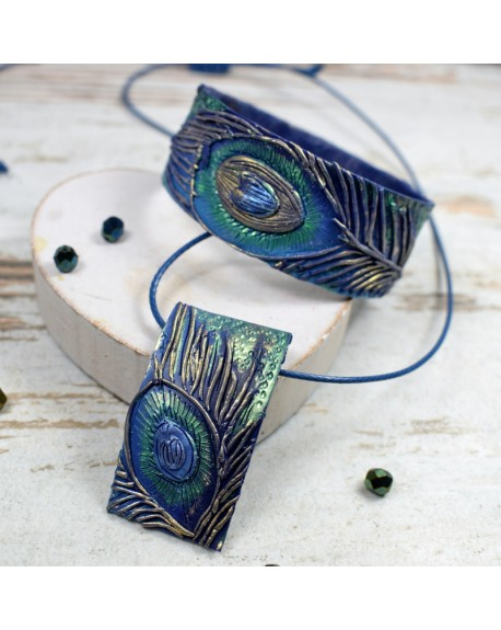 Pawie pióra - komplet biżuterii