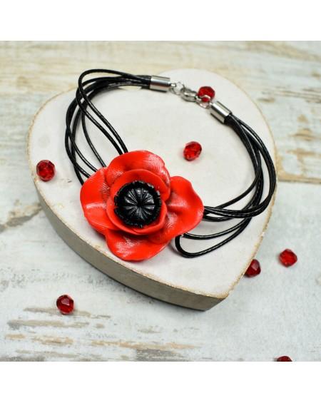 Czerwone maki - bransoletka