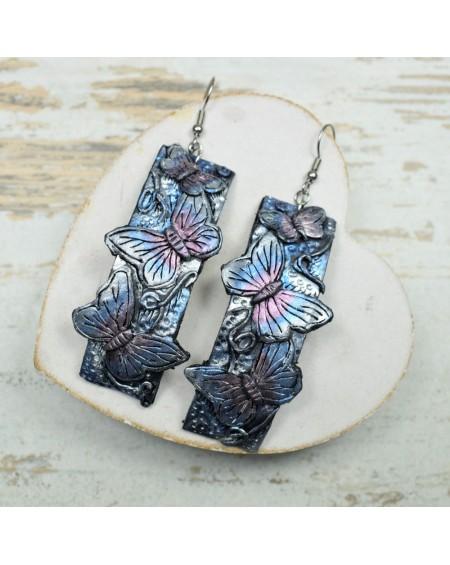 Motyle kolczyki. Długie, wiszące kolczyki z motylami.