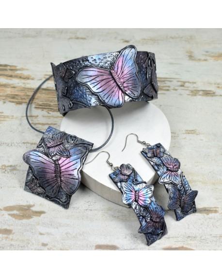 Motyle - duży, oryginalny komplet biżuterii