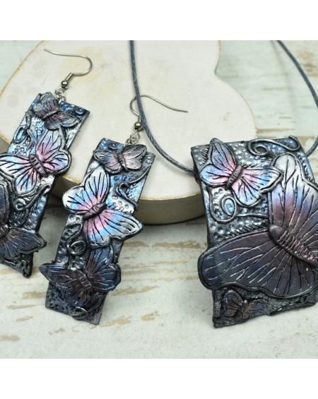 Motyle - komplet biżuterii zawieszka + kolczyki
