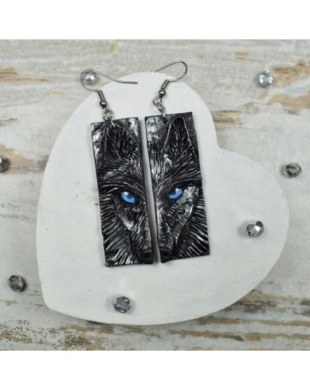 Oryginalne kolczyki wilki. Kolczyki handmade z motywem wilka.