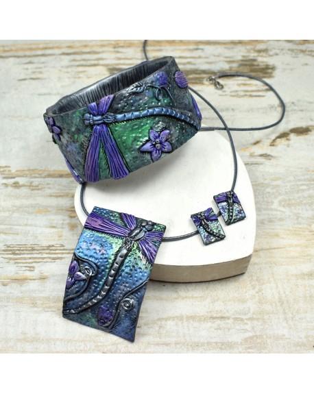 Biżuteria z ważką - komplet w fioletach