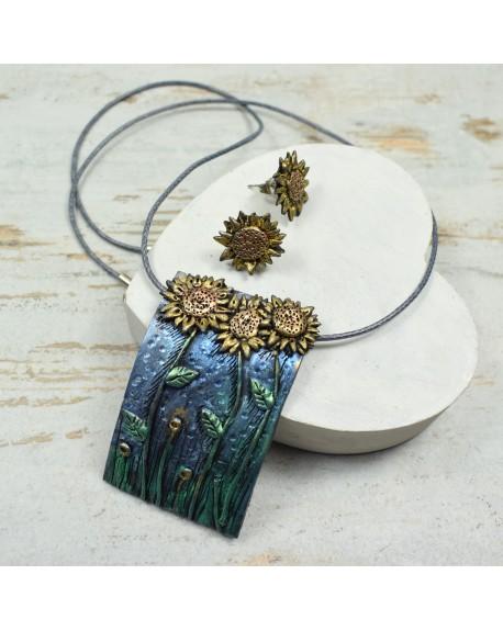 Komplet biżuterii słoneczniki - kolczyki wkrętki i zawieszka
