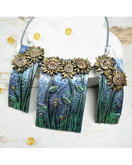 Komplet biżuterii słoneczniki- długie kolczyki i zawieszka