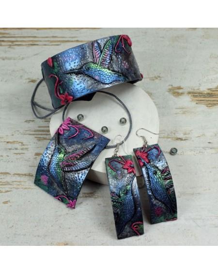 Biżuteria koliber - duży komplet: bransoletka, zawieszka i długie kolczyki