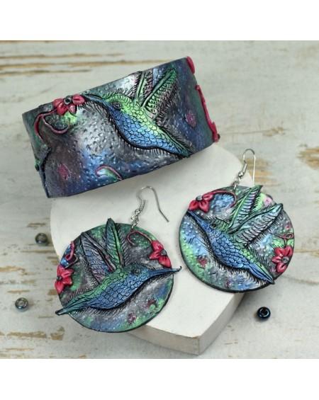 Biżuteria koliber - bransoletka i kolczyki koła