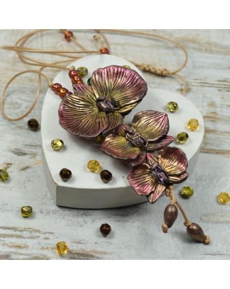 Długi wisior z kwiatami orchidei - kolory jesieni
