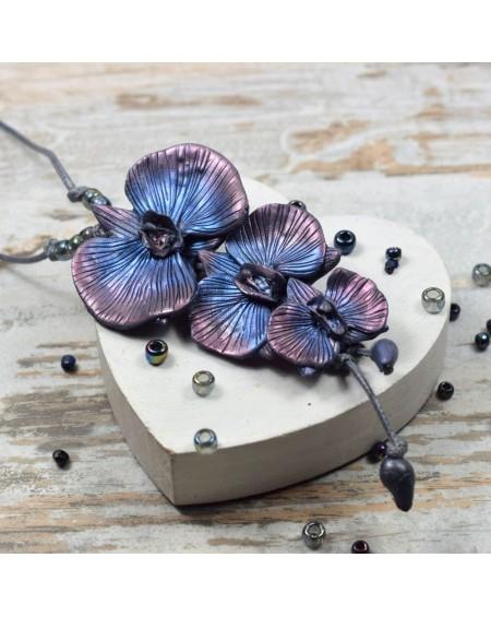Długi wisior z kwiatami orchidei - granat, srebro, fiolet, róż