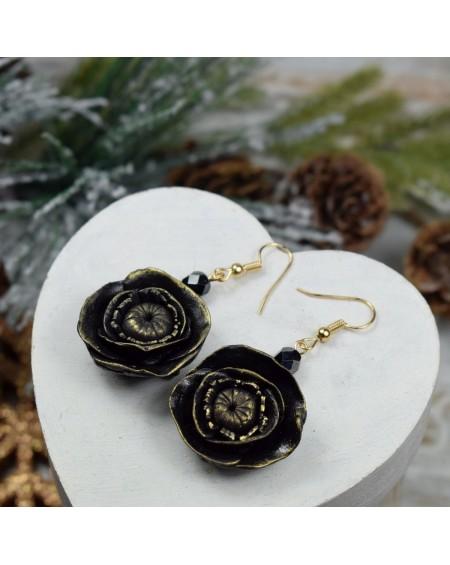 Czarne kolczyki kwiaty - wiszące