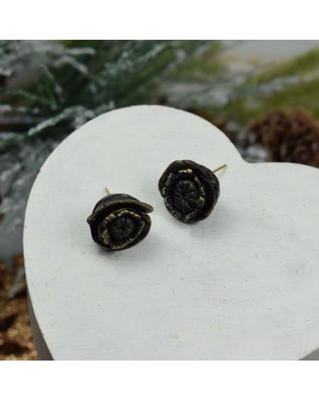 Czarne kolczyki kwiaty - wkrętki