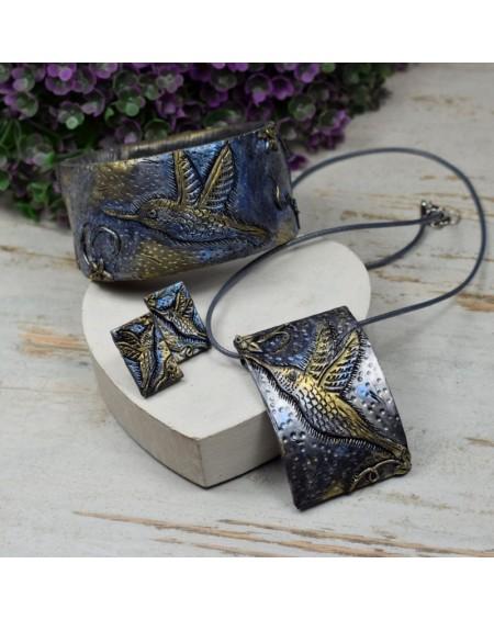 Koliber - komplet biżuterii w odcieniach złota, srebra i granatu