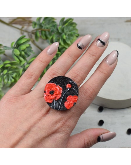 """Duży, regulowany pierścionek """"maki"""""""