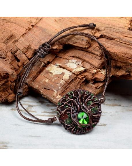 """Bransoletka """"drzewo"""" Magic Forest - zielony kryształ"""