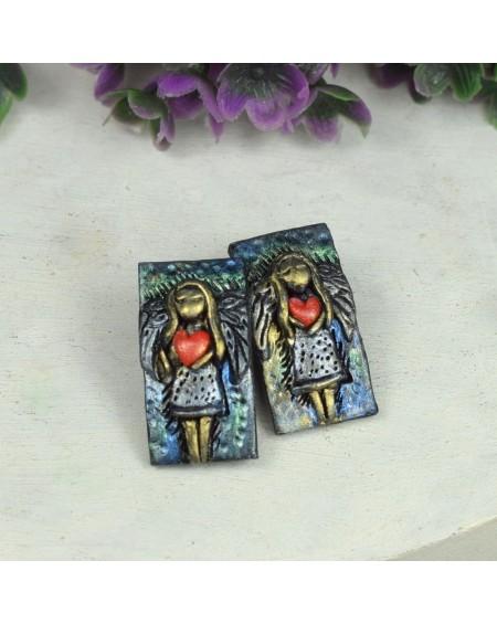 Anioł z sercem - kolczyki wkrętki