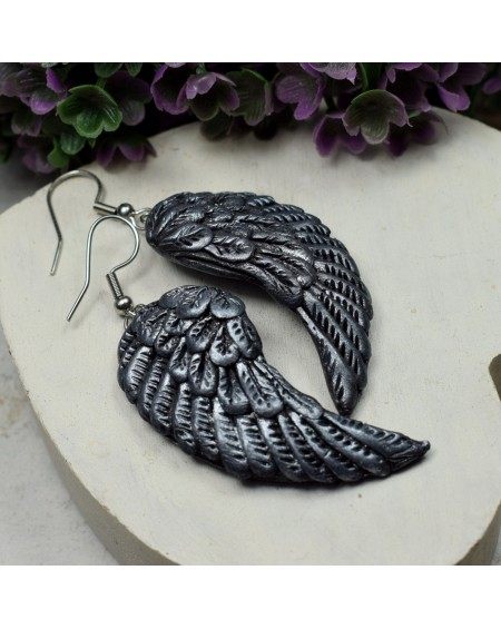 Długie kolczyki anielskie skrzydła