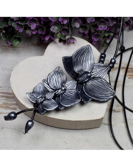 """Wisior """"orchidee"""" ciemno srebrny"""