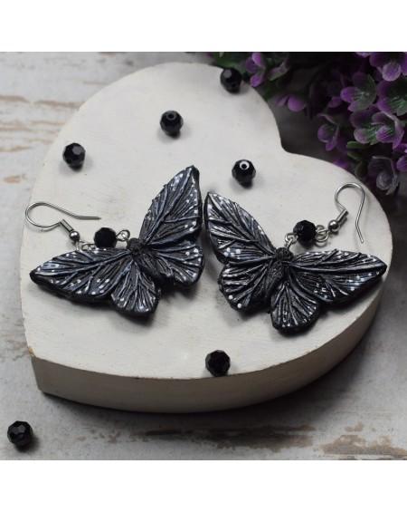 Czarne kolczyki motyle