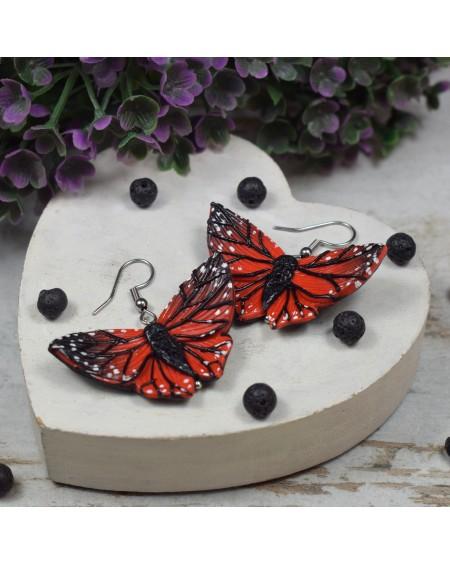 Kolczyki motyle czerwono czarne