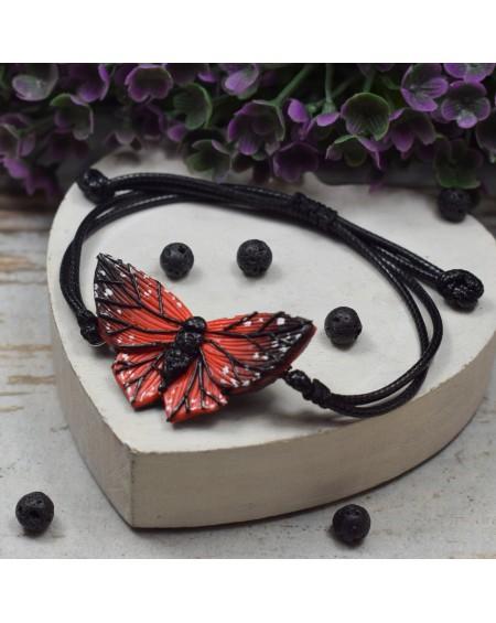 Regulowana bransoletka motyl - czerwono czarna