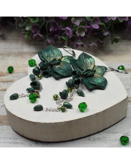 Kolczyki orchidee - butelkowa zieleń
